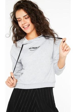 FullaModa 18KALAT0014 Kadın Baskılı Sweatshirt