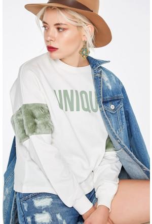 FullaModa 18KMSL0004 Kadın Tüylü Sweatshirt