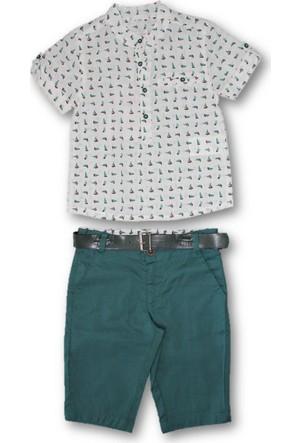 Monna Rosa Yelken Desenli Gömlekli 2'li Erkek Çocuk Bermuda Şortlu Takım