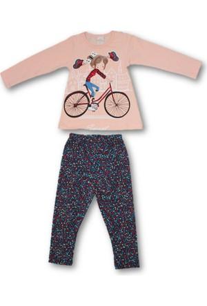 Biricik's Sweet Bisikletli Kız Baskılı 2'li Kız Çocuk Taytlı Takım
