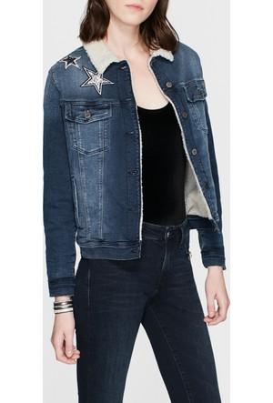 Mavi Katy Suni Kürklü Jean Ceket