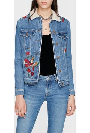 Mavi Katy Çiçek Nakışlı Jean Ceket