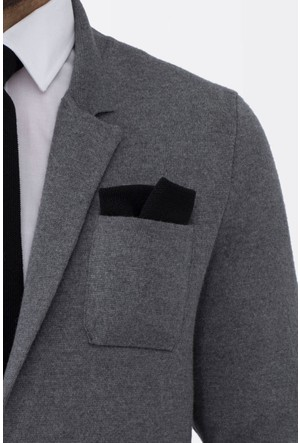 Hemington Siyah Örgü Ceket Mendili