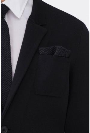 Hemington Desenli Siyah Örgü Ceket Mendili