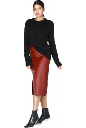 Bsl Fashion Siyah Yün Triko Kazak 9581