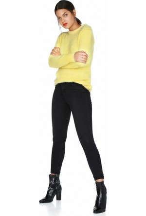Bsl Fashion Sarı Yün Triko Kazak 9581