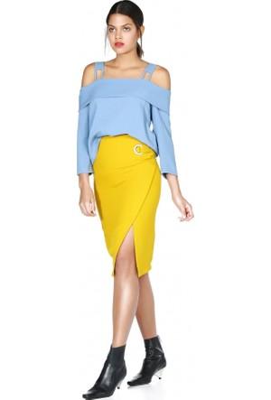 Bsl Fashion Düşük Omuz Bağlamalı Bluz Mavi 9584