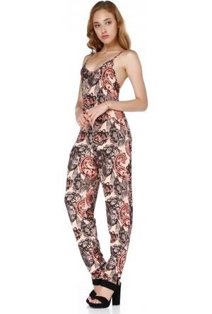 Bsl Fashion Turuncu Tulum Elbise 9340
