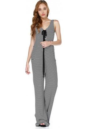 Bsl Fashion Çizgili Tulum Elbise 9430