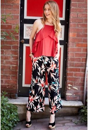 Bsl Fashion Siyah Mavi Çiçekli Pantolon 9346