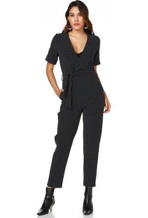 Bsl Fashion Siyah Tulum Elbise 9185