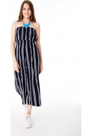 Bsl Fashion Siyah Tulum Elbise 9415