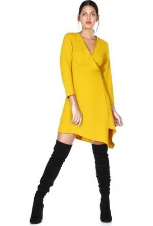 Bsl Fashion Çapraz Kuşaklı Hardal Elbise 9595