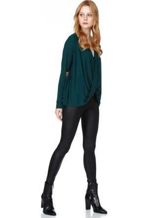Bsl Fashion Yeşil Bluz 9557