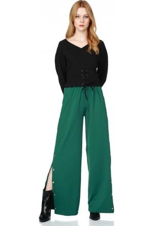 Bsl Fashion Yeşil Pantolon 9563