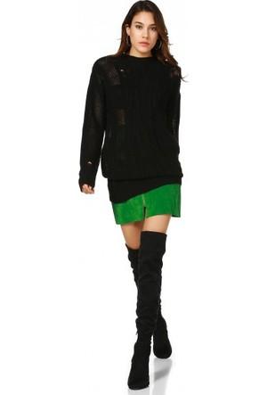 Bsl Fashion Siyah Triko Kazak 10631