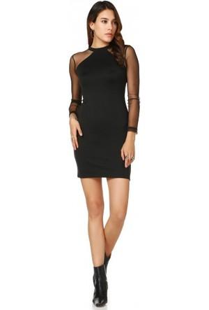 Bsl Fashion Siyah Elbise 9528