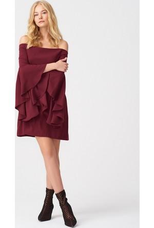 Dilvin 9665 Düşük Omuz Kolu Volanlı Elbise - Bordo