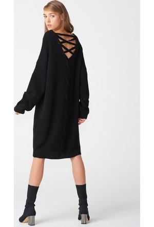 Dilvin 2199 V Yaka Arkası Tiktaklı Elbise - Siyah