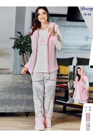 Dowry 15-43 Kışlık Bayan 3'Lü Pijama Takımı