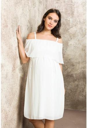 Casual Hamile Askılı Şifon Elbise Beyaz