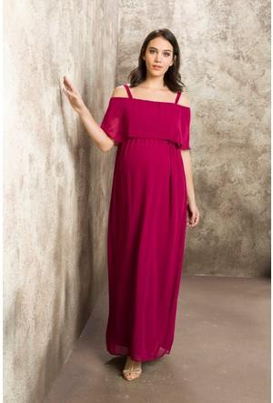 Casual Hamile Askılı Şifon Uzun Elbise Violet