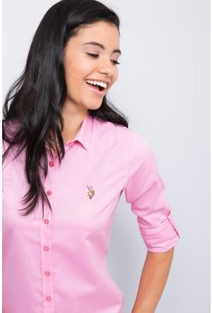 U.S. Polo Assn. Criscolor17K Kadın Dokuma Gömlek Pembe