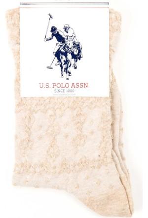 U.S. Polo Assn. Kadın Orna Çorap Bej