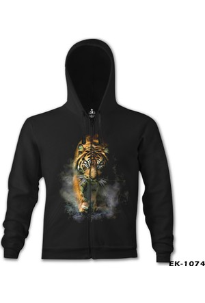 Lord T-Shirt Kaplan 2 Siyah Erkek Kapüşonlu Sweatshirt
