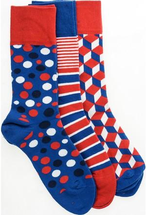 Pixter&Bro Trend Happy Blue Erkek Üçlü Soket Çorap Set