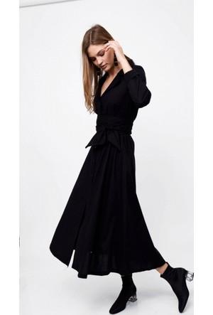 Eka Uzun Kollu Beli Kuşaklı Gömlek Elbise