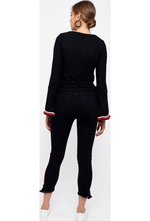 Eka Yanları Şeritli Yüksek Bel Likralı Pantolon