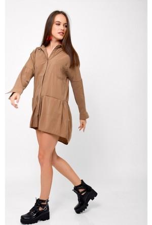 Eka Önü Çıtçıtlı Cepli Elbise