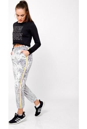 Eka Beli Lastikli Yanı Şeritli Kadife Spor Pantolon