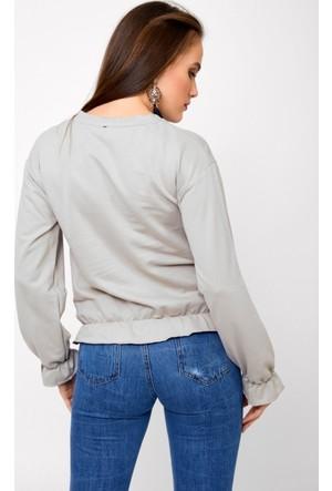 Eka Kolları Ve Etek Ucu Fırfırlı Sweatshirt