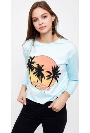 Eka Önü Baskılı Sweatshirt