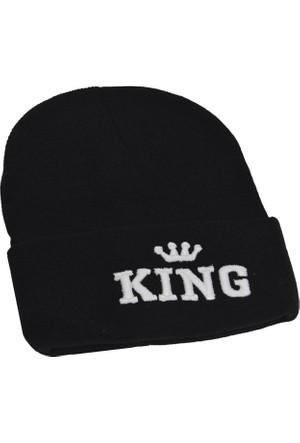 Outlet Çarşım Erkek King Logolu Yün Bere Siyah