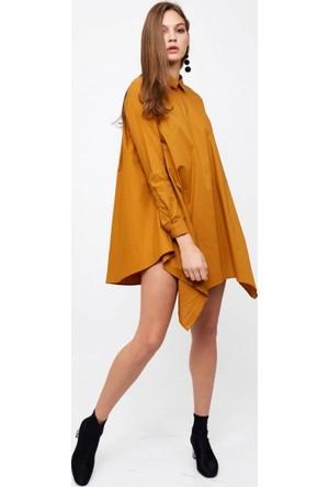 Eka Arkası Fermuarlı Gömlek Elbise