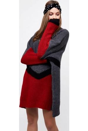 Eka Renkli Selanik Örgü Salaş Triko Elbise