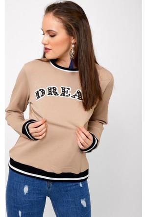 Eka Yazı Baskılı Kolej Sweatshirt