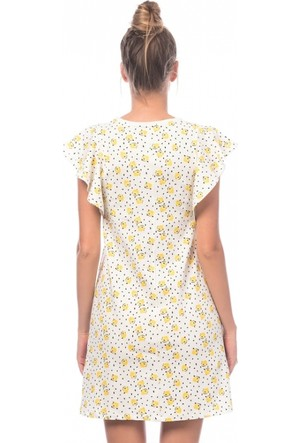 Eka Limon Baskılı Fırfırkol Elbise