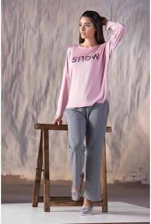 Gizzey Baskılı Kadın Pantolon Takım 20114