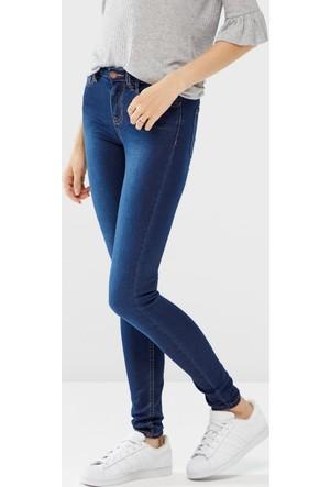 Only Bayan Likralı İnce Kot Pantolon 17082998 Pieces Betty Jeans -Dark Blue