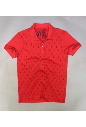 Phazz Brand Erkek Polo Yaka Tshirt 4601_Kırmızı+Gri