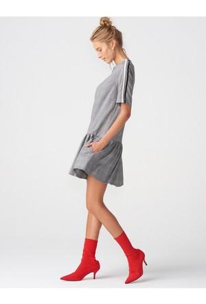 Dilvin 9835 Kol Şeritli Ekose Elbise-Siyah