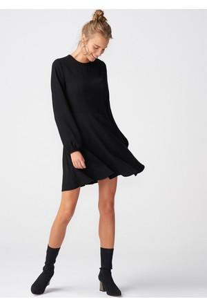 Dilvin 9834 Uzun Kol Eteği Volanlı Elbise-Siyah