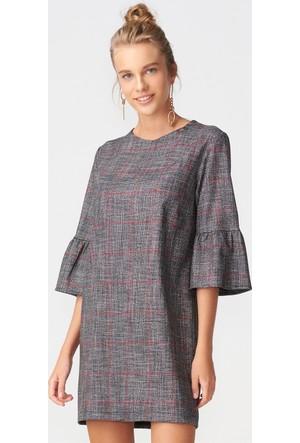 Dilvin 9642 Kolu Volanlı Elbise-Gri