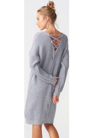 Dilvin 2199 V Yaka Arkası Tiktaklı Elbise-Gri