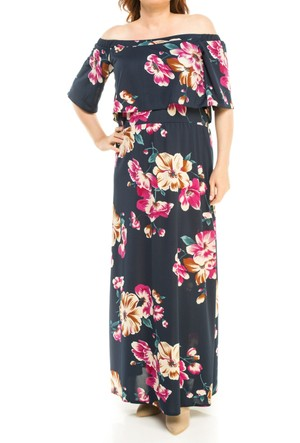Melisita Mariposa Ss01700Eb Lacivertvert Çiçekli Elbise