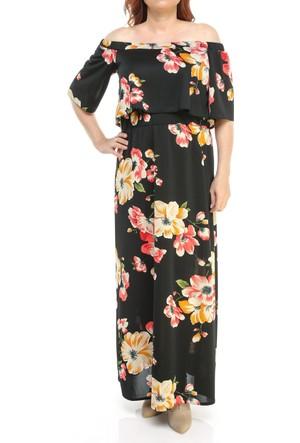 Melisita Mariposa Ss01700Eb Siyah Çiçekli Elbise